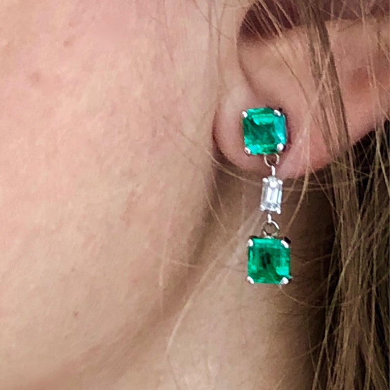 Emerald and Diamond Drop Earrings Weighing 3.65 In New Condition For Sale In New York, NY