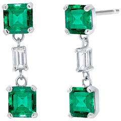 Emerald and Diamond Drop Earrings Weighing 3.65