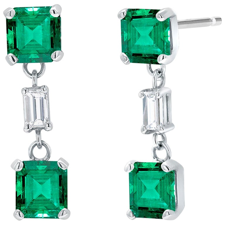 Emerald and Diamond Drop Earrings Weighing 3.65 For Sale