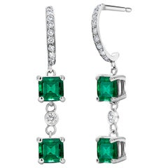 Cushion Square Colombian Emerald and Diamond Hoop Earrings Weighing 2.80 Carat