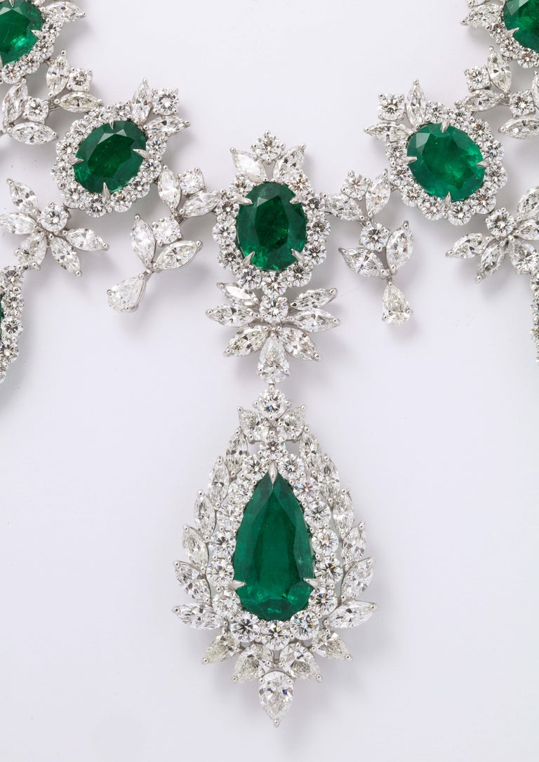 Emerald and Diamond Drop Necklace For Sale 6