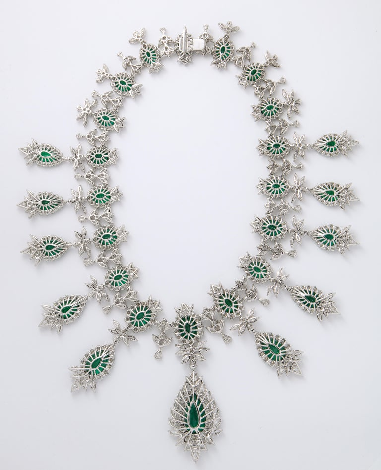 Emerald and Diamond Drop Necklace For Sale 8