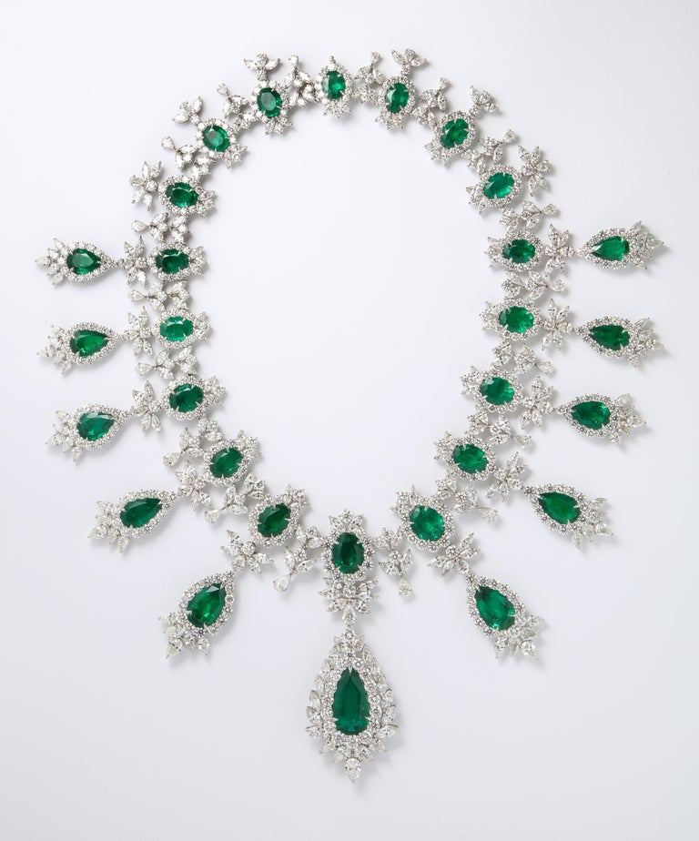 A MAGNIFICENT PIECE!  An important emerald and diamond necklace.   144.07 carats of fine quality,