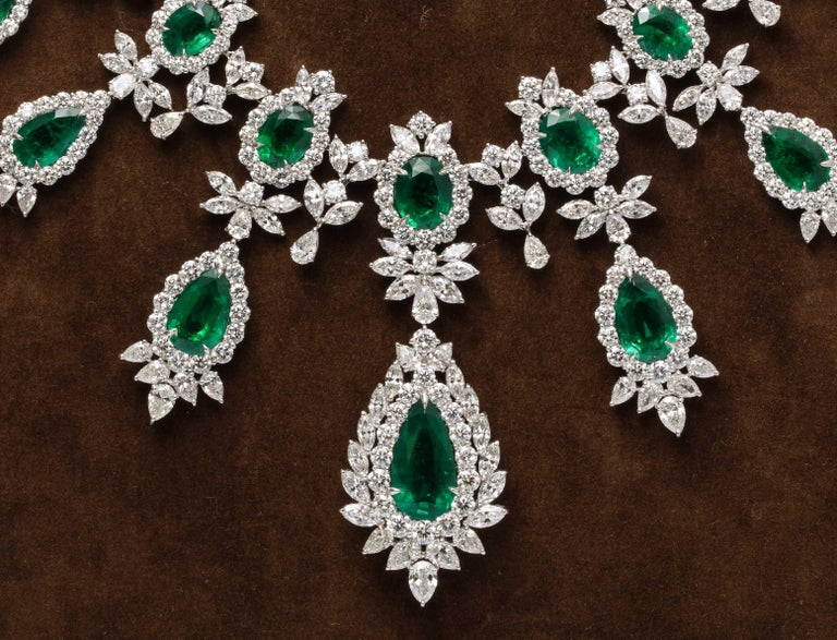 Women's or Men's Emerald and Diamond Drop Necklace For Sale