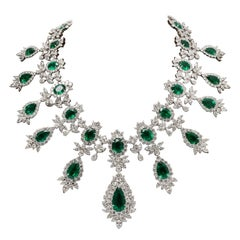 Emerald and Diamond Drop Necklace