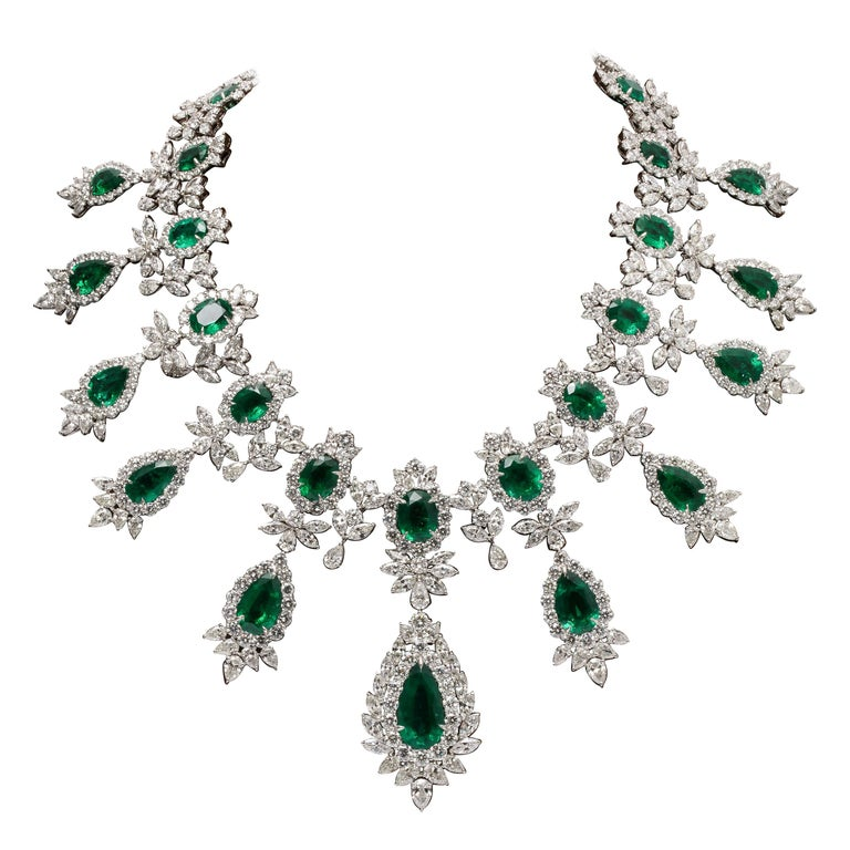Emerald and Diamond Drop Necklace For Sale
