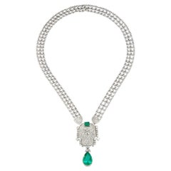 Emerald and Diamond Drop Necklace