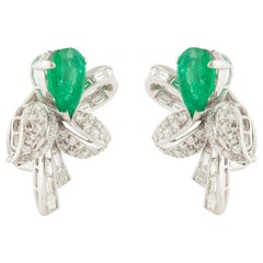Emerald and Diamond Earclips in Platinum