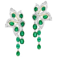 Takat Emerald And Diamond Earring In 18K Yellow / White Gold