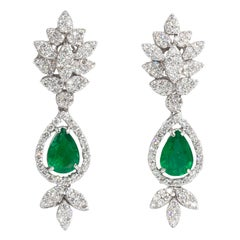 Emerald and Diamond Earrings 18 Karat Gold