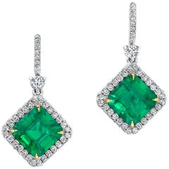 Emerald and Diamond Earrings 18 Karat White Gold