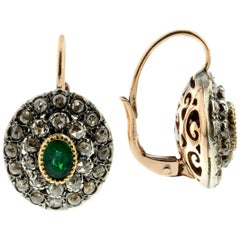 Emerald and Diamond Earrings and Cocktail Ring Set in .925 Silver and 9k Gold