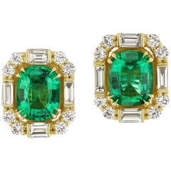 Emerald and Diamond Earrings by Andrew Glassford