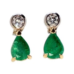 Emerald and Diamond Earrings by Love and Object