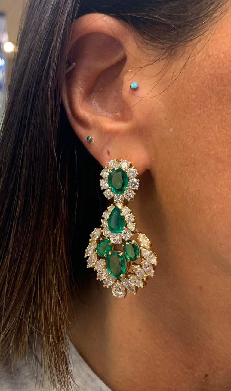Oval Cut Emerald and Diamond Earrings For Sale