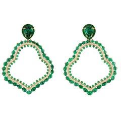 Emerald and Diamond Earrings in 18 Karat Yellow Gold