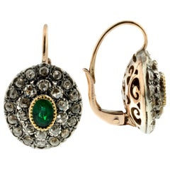 Emerald and Diamond Earrings in Silver and 9 Karat Gold in Ancient Technique