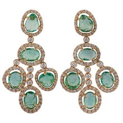 Emerald and Diamond Earrings Studded in 18 Karat Yellow Gold