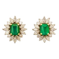 Emerald and Diamond Earrings with GIA Certification in Platinum