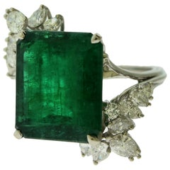 Emerald and Diamond Engagement/ Occasion Ring