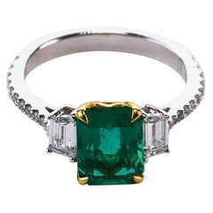 Emerald and Diamond Engagement Ring with White Gold