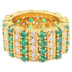 Emerald and Diamond Eternity Cocktail Ring 18 Karat Yellow Gold