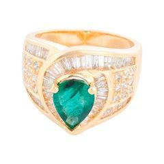 Emerald and Diamond Fashion 14k Yellow Gold Ring