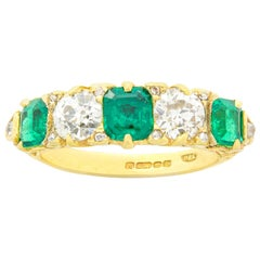 Emerald and Diamond Five-Stone Half Hoop Ring