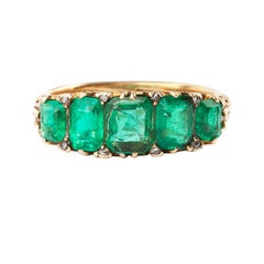 Emerald and Diamond Five Stone Victorian Ring