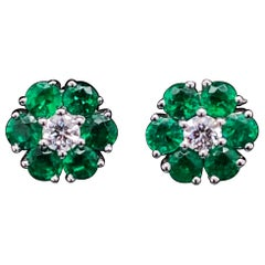 Emerald and Diamond Floral Cluster Earrings 18 Karat White Gold