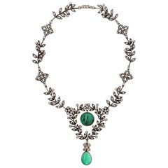 Emerald and Diamond Floral Drop Necklace
