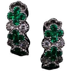 Emerald and Diamond Floral Hoop Earrings 18 Karat White Gold