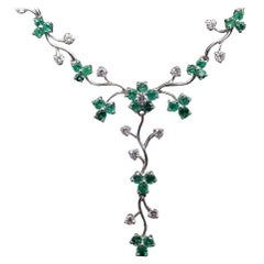 Emerald and Diamond Floral Necklace 18 Karat White Gold