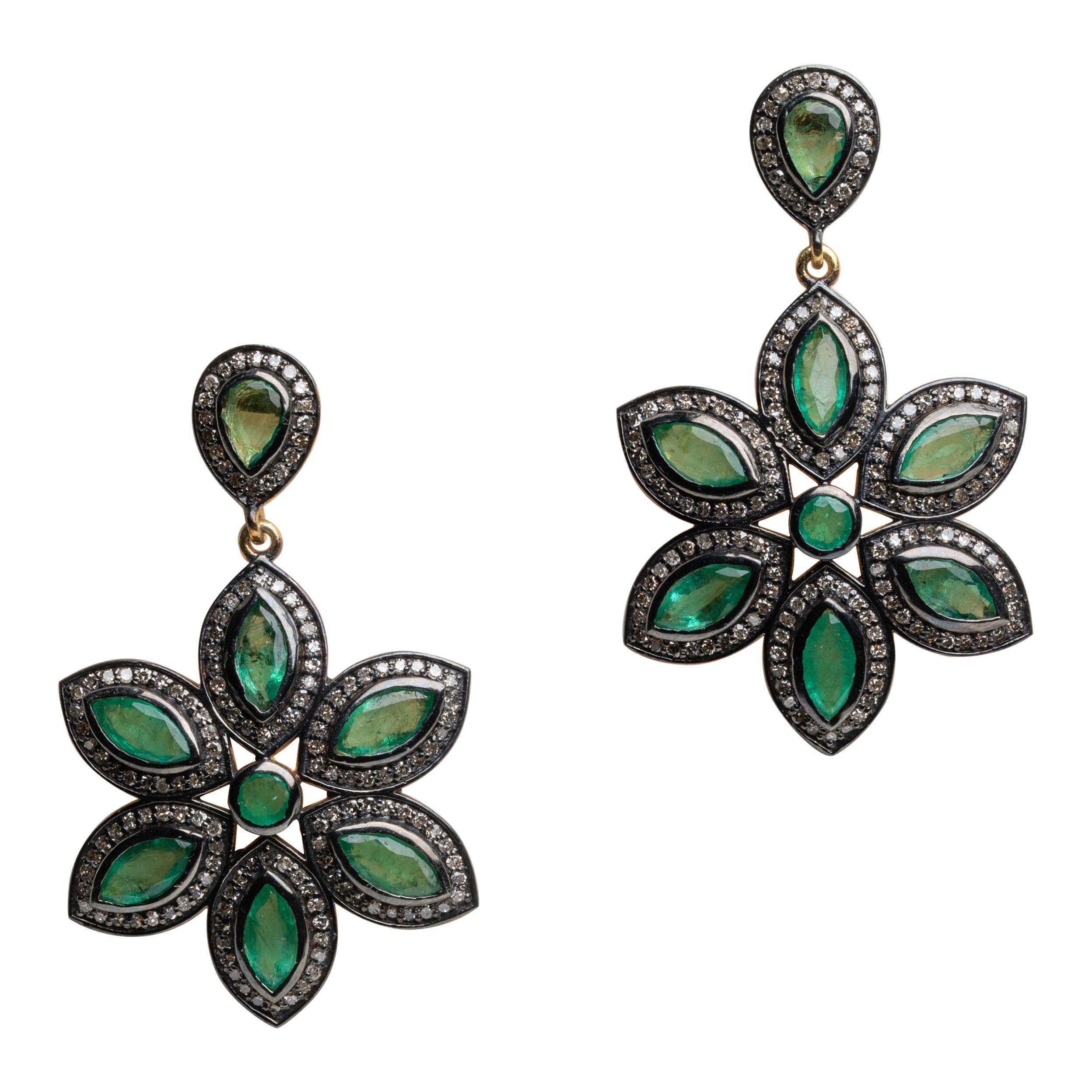 Emerald and Diamond Flower Dangle Earrings