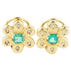 Emerald and Diamond Flower Design Earrings in 18 Karat Yellow Gold