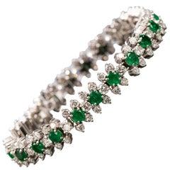 Emerald and Diamond Flower-Head Bracelet