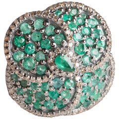 Emerald and Diamond Flower Petal Ring