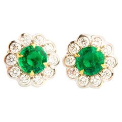 Emerald and Diamond Flower Shaped 18 Karat White Gold Earrings