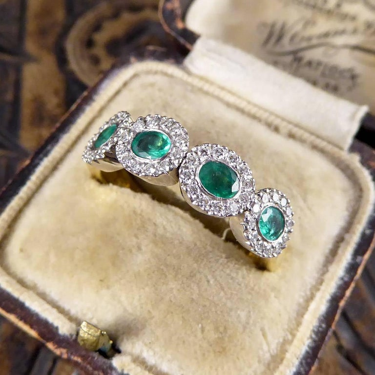 Emerald and Diamond Four-Stone 18 Carat Gold Cluster Ring For Sale 6