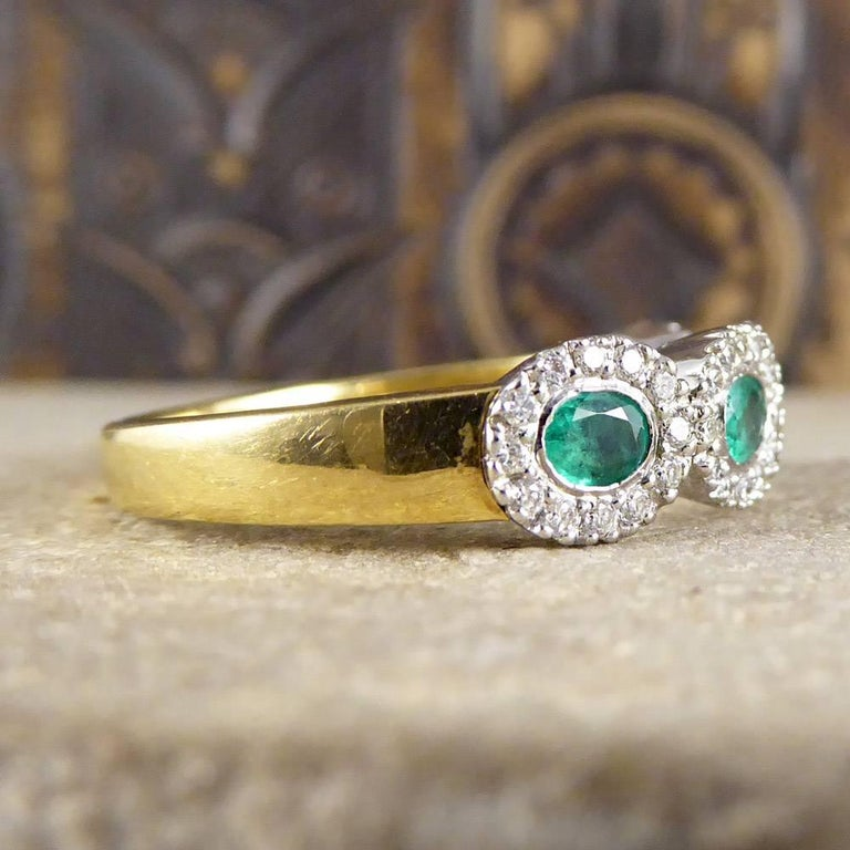 Emerald and Diamond Four-Stone 18 Carat Gold Cluster Ring In Good Condition For Sale In Yorkshire, West Yorkshire