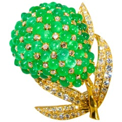 Emerald and Diamond French Brooch, circa 1960