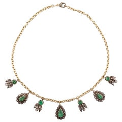 Sylva & Cie Emerald and Diamond Georgian Necklace with 14k Yellow Gold Chain