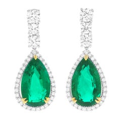 Emerald and Diamond Gold Chandelier Earrings