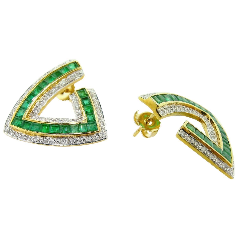 Emerald and Diamond Gold Earrings