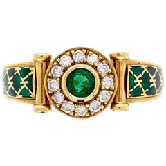 Emerald and Diamond Green Enamel Gold Cocktail Ring Fine Estate Jewelry France