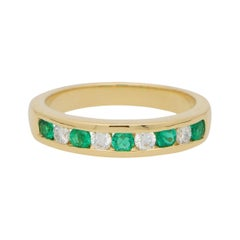 Emerald and Diamond Half Eternity Band Ring Set in 18k Yellow Gold