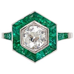 Emerald and Diamond Hexagon Art Deco Style Platinum Ring Fine Estate Jewelry