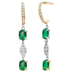 Emerald and Diamond Hoop Drop Gold Earrings Weighing 2.57 Carat