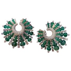 Emerald and Diamond Hoop Spike Earrings