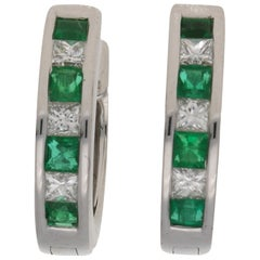 Emerald and Diamond Huggy Hoop Earrings in 18 Carat White Gold